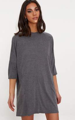 PrettyLittleThing Basic Charcoal Oversized Batwing T-Shirt Dress