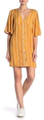 GOOD LUCK GEM Button Front V-Neck Striped Dress