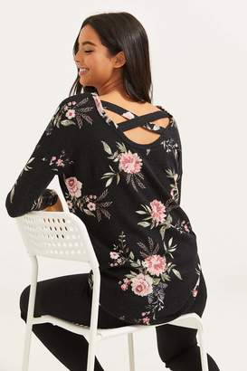 Ardene Floral Brushed Sweater with Crossed Back