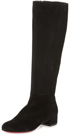 Christian Louboutin Christian Louboutin Lili Suede 30mm Red Sole Knee Boot, Black