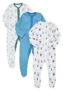 3 Pack of Dancing Bear and Striped Sleepsuits