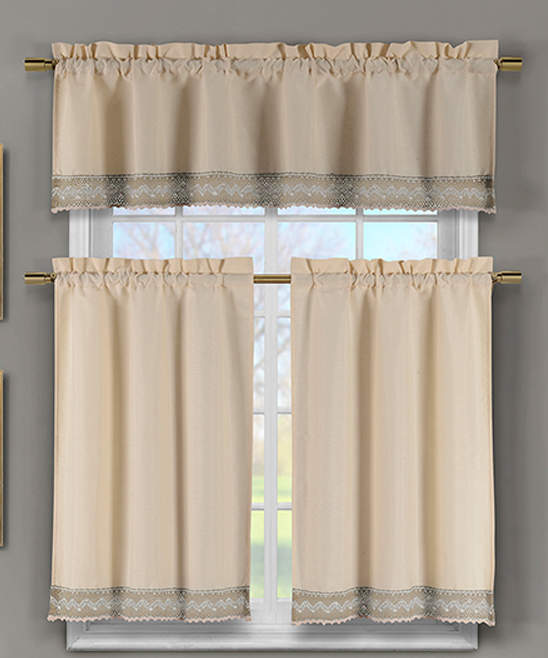 Wheat Zoey Crochet Curtain Panels & Valance Set