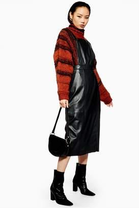 Topshop Leather Midi Pinafore Dress