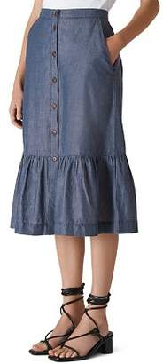Whistles Chambray Midi Skirt