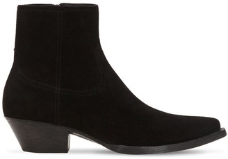 Saint Laurent 40mm Santiag Suede Ankle Boots