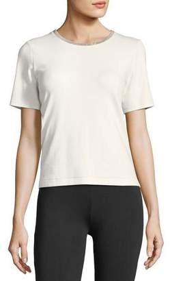 Joan Vass Embellished Crewneck Short-Sleeve Top