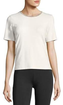 Joan Vass Embellished Crewneck Short-Sleeve Top