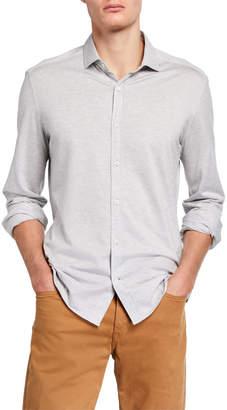 Brunello Cucinelli Men's Chambray Pique Jersey Sport Shirt w\/ French Collar