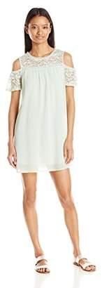 As U Wish Junior's Lace Cold Shoulder Dress