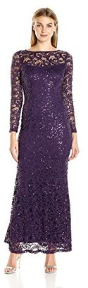 Marina Women's Stretch Sequin Lave with Long Sleeve $149 thestylecure.com