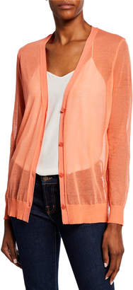 Lafayette 148 New York V-Neck Button-Front Sheer Cardigan