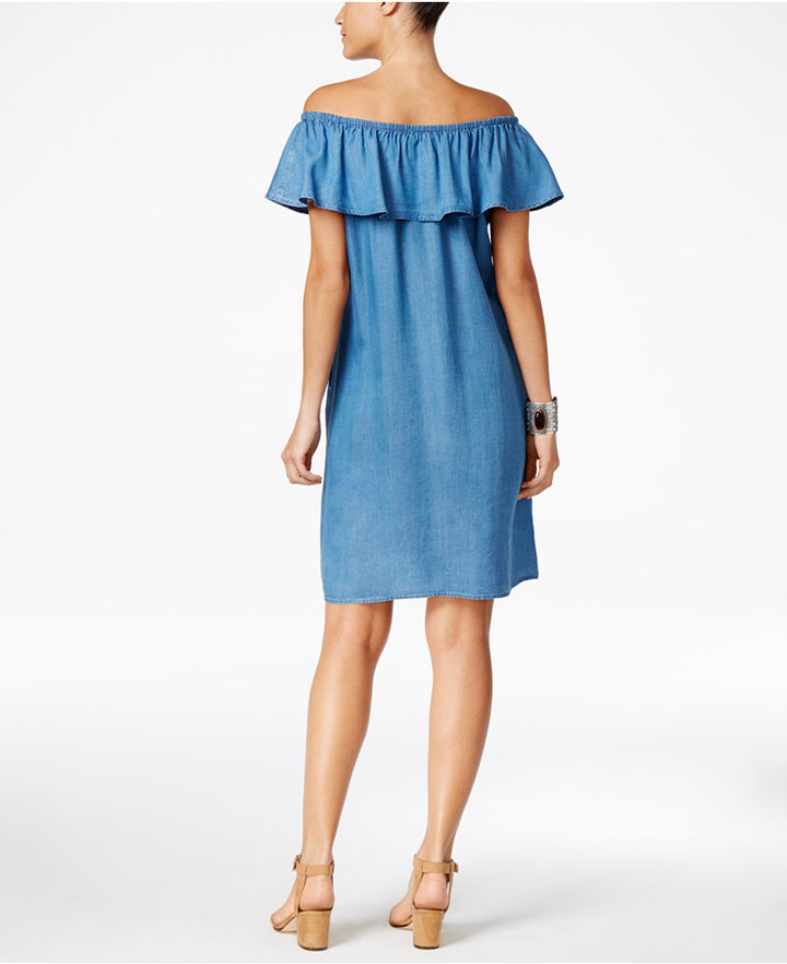 Style & Co Denim Off-The-Shoulder Dress, Only at Macy's 2