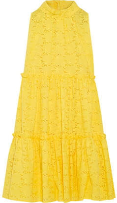 Ruffled Broderie Anglaise Cotton Dress - Yellow