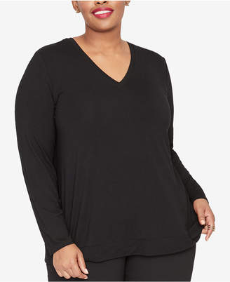 Rachel Roy Trendy Plus Size Zipper-Back Top