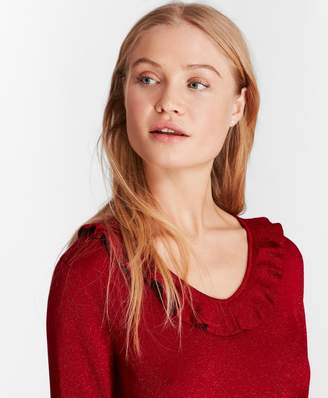 Brooks Brothers Ruffle-Trimmed Sparkle-Knit Sweater