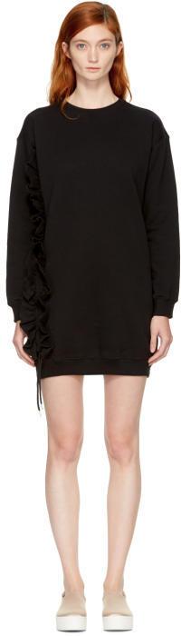 MSGM Black Ruffle Sweatshirt Dress