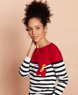 Brooks Brothers Crochet Flower-Trim Striped Cotton Sweater