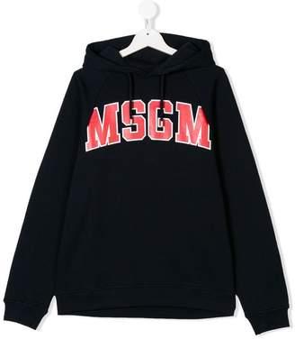 MSGM TEEN logo drawstring hoodie