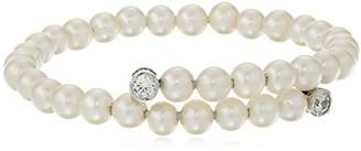 Swarovski Platinum-Plated Sterling Silver Zirconia Freshwater Cultured Pearl Overlap Bracelet (1/2 cttw)