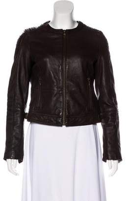DKNY Leather Zip-Up Jacket