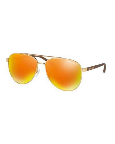 MICHAEL Michael Kors Michael Kors Mirrored Iridescent Contrast-Trim Aviator Sunglasses, Gold/Orange