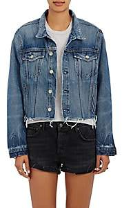 GRLFRND Women's Cara Crop Trucker Jacket - Md. Blue