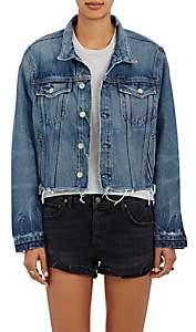 GRLFRND Women's Cara Crop Trucker Jacket-Md. Blue