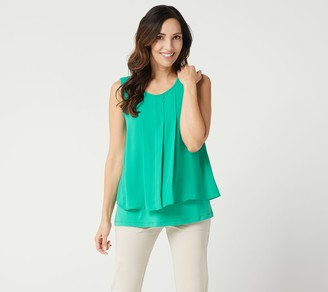 Susan Graver Liquid Knit Tank Top with Woven Overlay