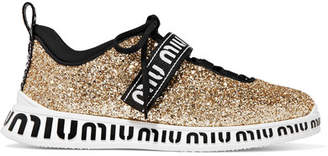 Miu Miu Logo-print Glittered Neoprene And Rubber Sneakers - Gold