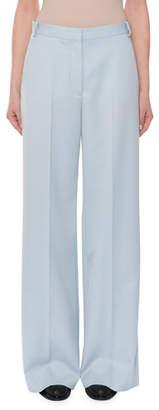 Stella McCartney Flat-Front Wide-Leg Wool Trousers