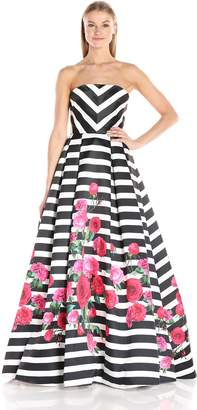 Mac Duggal Macduggal Women's Strapless Chevron and Floral Gown