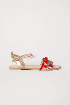 H&M Sandals with Pompoms - Gold