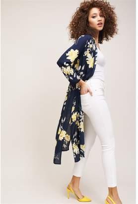 Dynamite Maxi Kimono Blue W/ Yellow Floral