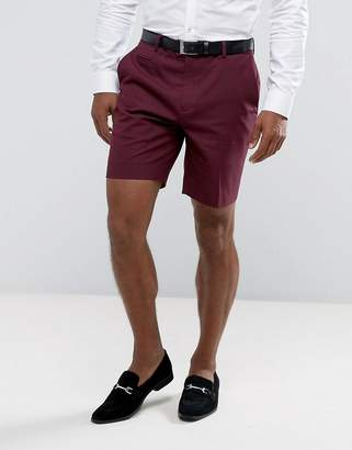 Asos DESIGN Slim Mid Length Smart Short in Purple