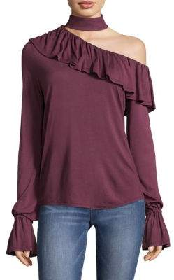Paige Rayden Choker One-Shoulder Blouse