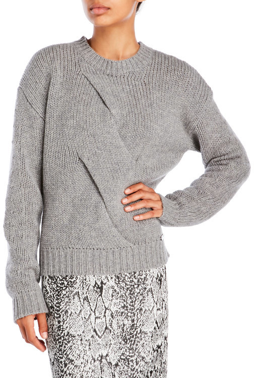 pink tartan Twisted Cable Wool Sweater