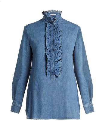 Stella McCartney Ina Ruffled Trimmed Denim Shirt - Womens - Light Denim