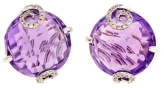 14K White Gold Diamond & Amethyst Domed Faceted Swirl Prongs Earrings