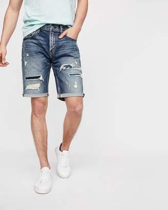 Express Slim 9 Inch Destroyed Stretch Denim Shorts