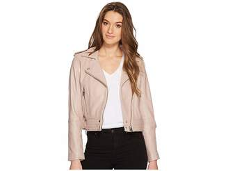 Blank NYC Real Leather Moto Jacket in Rose Dust Women's Coat