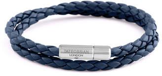 Tateossian Men's Braided Leather Double-Wrap Bracelet, Size M, Navy