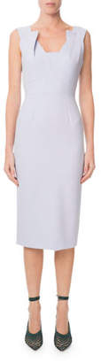 Roland Mouret Coleby Pleated V-Neck Fitted Sheath Dress