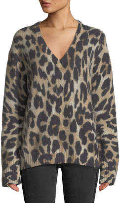 360 Sweater 360sweater Geraldine V-Neck Long-Sleeve Leopard-Intarsia Cashmere Sweater