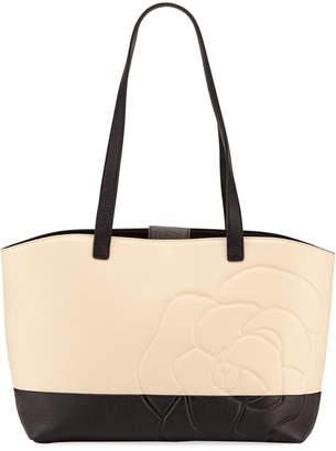 Karl Lagerfeld Paris Flora Flower Bicolor Leather Shoulder Tote Bag