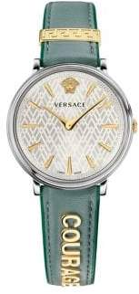 Versace V Circle Lady Courage Stainless Steel Leather-Strap Watch