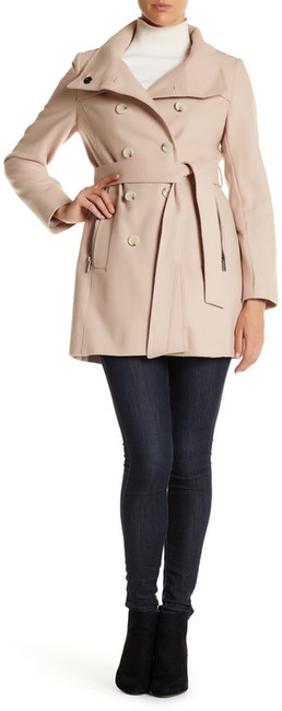DKNYDKNY Double Breasted Stand Collar Wool Blend Trench Coat