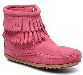 Minnetonka Kids's Double Fringe bootie G Zip-up Ankle Boots in Pink