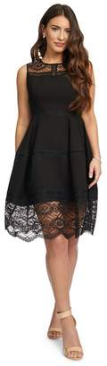 Ariella London - Black 'Zandra' Lace Panelledknee Length Dress