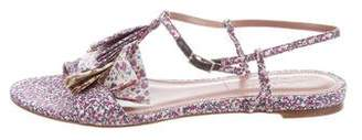 Tabitha Simmons Floral Pleated Sandals
