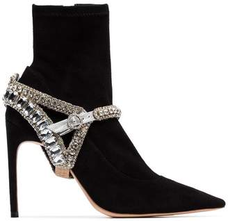 Sophia Webster black Lorena 100 crystal embellished velvet boots